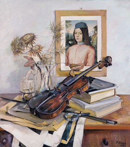 Still Life with a Violin and Rainessance Portrait