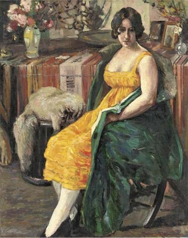 Woman in an Interior with a Dog