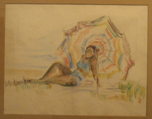 Sunbathing Woman under Parasol