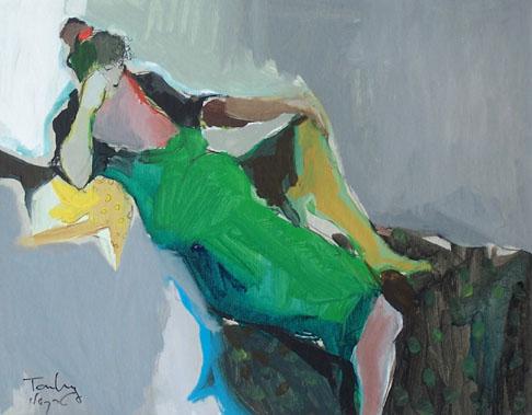 Reclining Woman in Green Dress