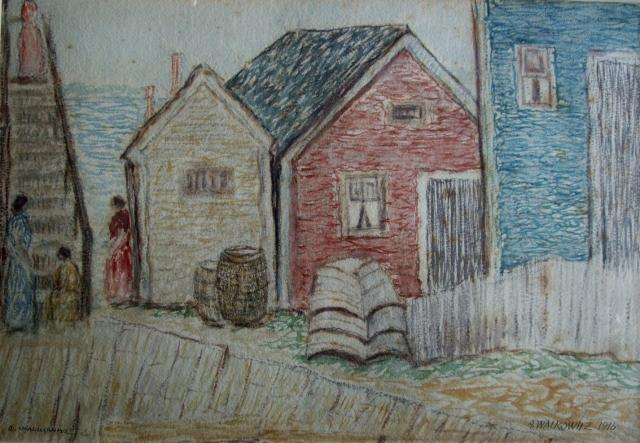 Houses by the Sea with Figures
