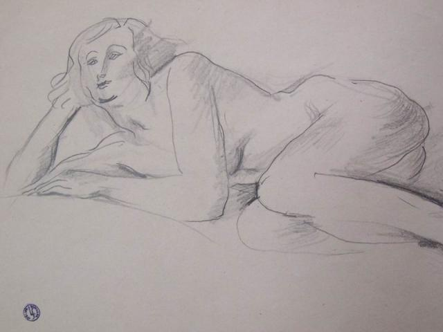Lying Nude Resting on her Arm.