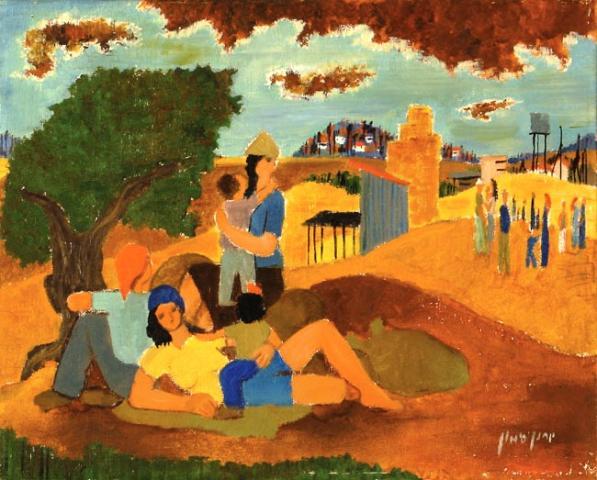 Resting Family in the Kibbutz