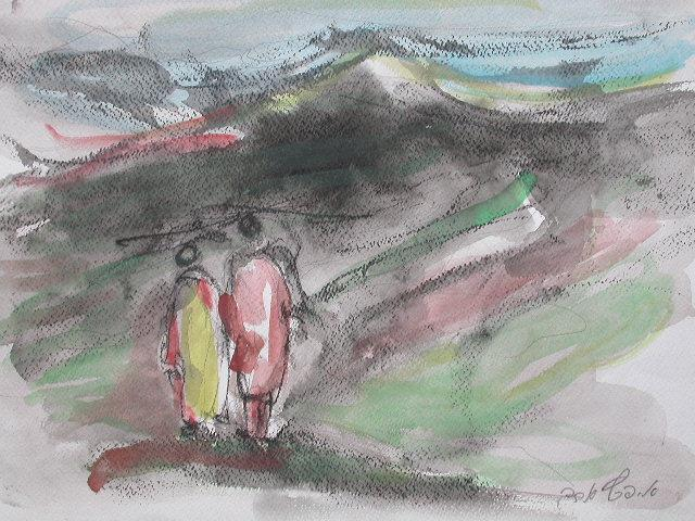 Two Figures in the Negev Landscape.