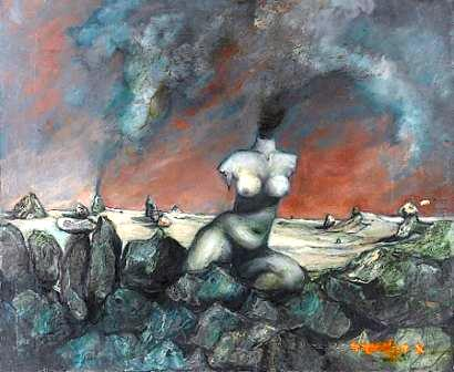 Surrealistic Landscape with a Nude