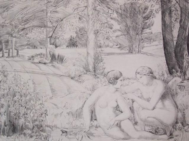 Two Nudes in the Landscape of Versailles.
