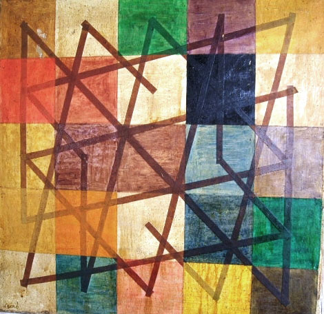 Geometrical Composition on Squares Background