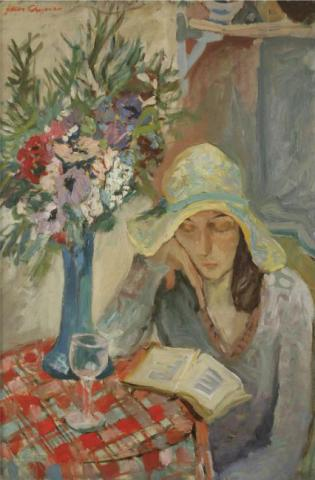 Woman in an Interioir Reading a Book