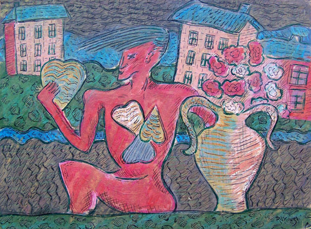 Red Figure Holding a Heart
