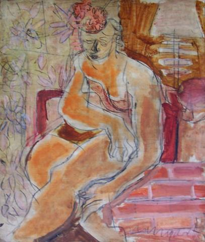 Seated Woman with Flowery Hat