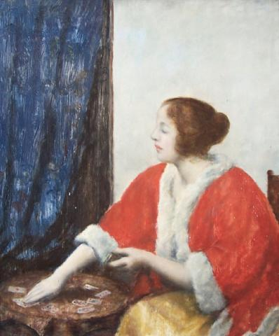 Portrait of a Woman Playing Cards