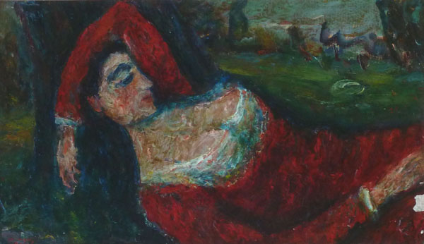Woman resting in a red dress
