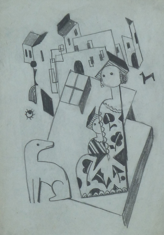 Constructivist Cityscape with Mother, Child and a Dog, late 1920's
