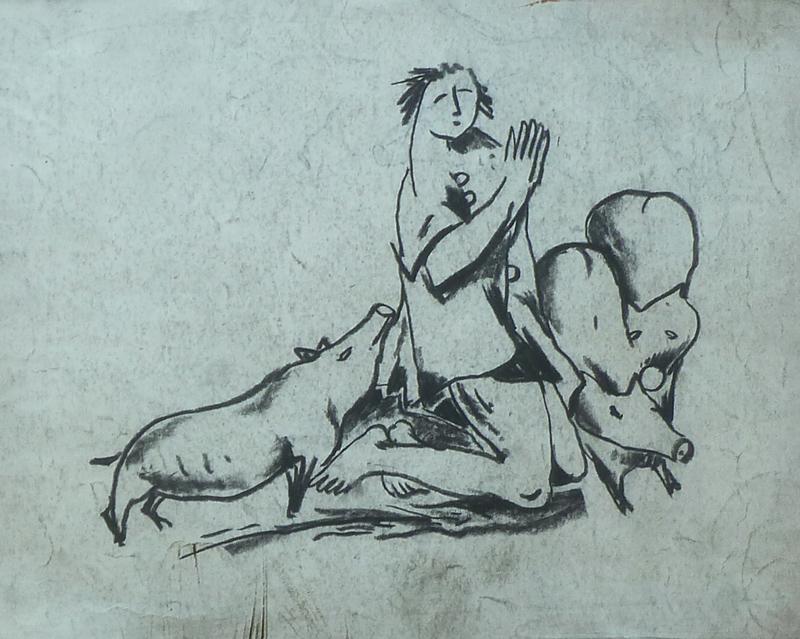 Praying Man with Pigs