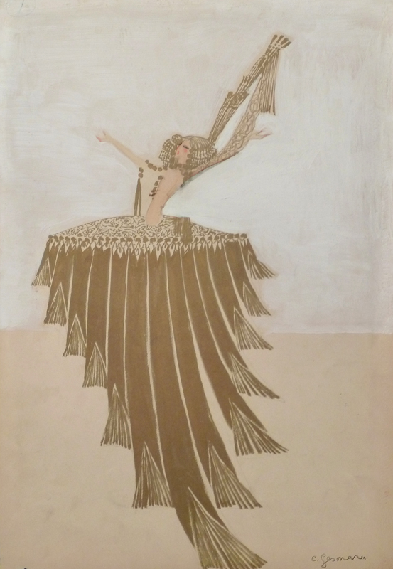 Dancer with Golden Dress on a White Background