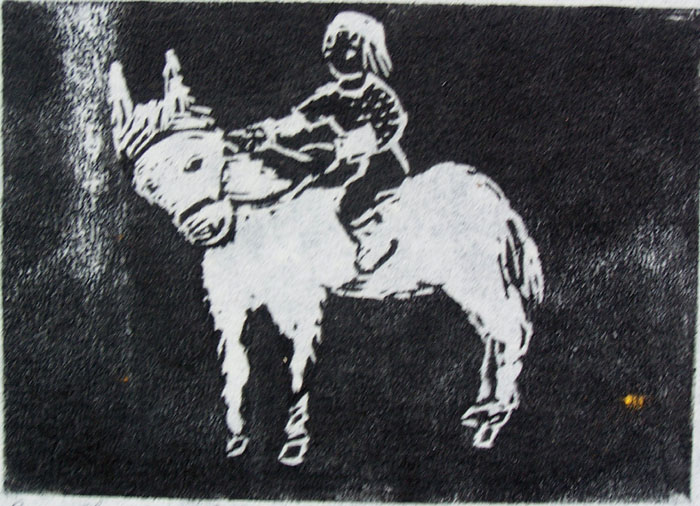Boy Riding a Pony