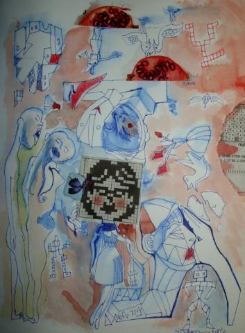 Telephone painting/Little Girl with Blue Butterfly