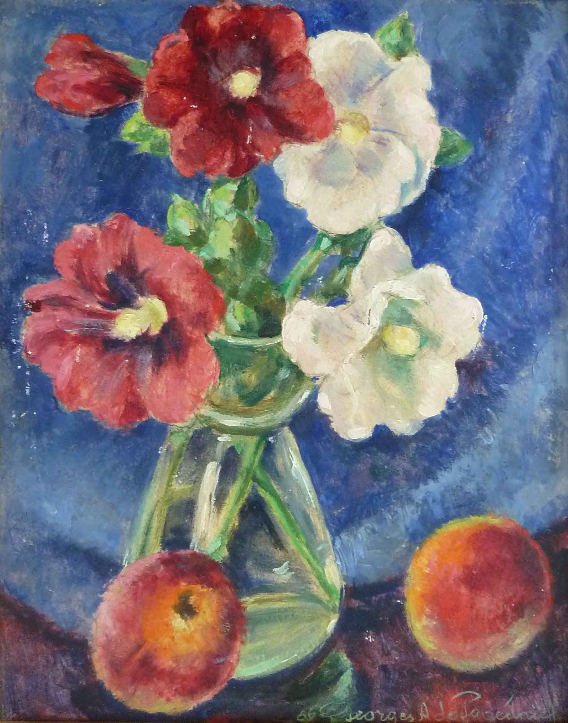 Five Hollyhocks and Two Peaches